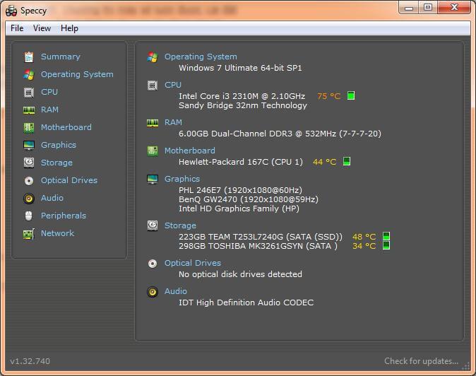 phần mềm xem tổng quan về máy, các thông tin về máy hệ điều hành, ổ cứng màn hình, VGA.