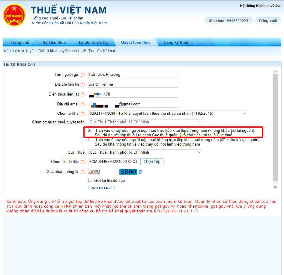 Nạp hồ sơ online hoàn thuế TNCN